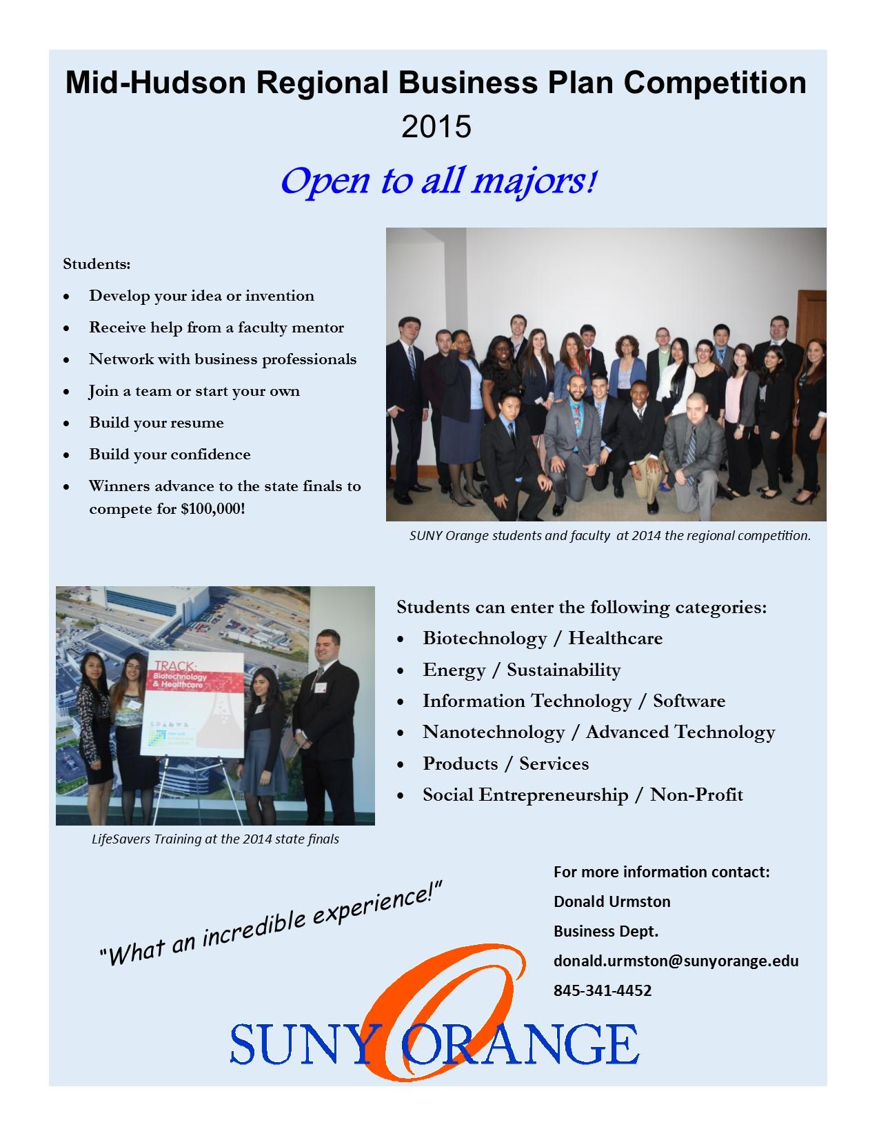 Mid-Hudson Innovation & Business Competition, SUNY Orange GRAPEVINE
